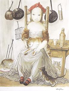 藤田嗣治「台所の少女と猫」版画