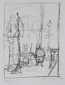 ジャコメッティ「立像とストーブ」版画