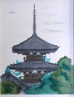 平山郁夫「法起寺」版画リトグラフ43×32.9cm