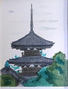 平山郁夫「法起寺」版画