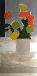 ベルナール・カトラン「孔雀草」リトグラフ74×37cm