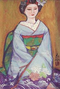 三輪良平「舞妓」日本画