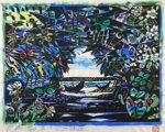 名嘉睦稔「緑の口」木版画裏手彩色45×60cm