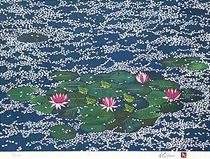 平松礼二「モネの池に桜花散る」版画