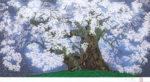 中島千波「中曽根の権現櫻」版画25×50cm
