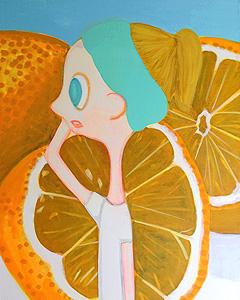 細川真希「オレンジ背景の女の子」アクリル