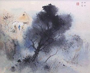 堂本印象「山景悠々」日本画