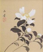 川合玉堂「山茶花」日本画3号色紙