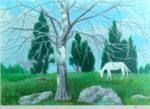 東山魁夷「早春の丘」版画リトグラフ37.9×53cm