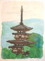 平山郁夫「薬師寺の東塔」リトグラフ42×33cm