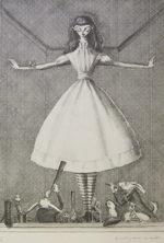 金子國義「おおきな少女」版画リトグラフ57×39cm