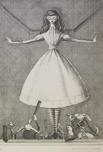 金子國義「おおきな少女」版画
