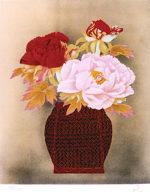 堀文子「牡丹」版画リトグラフ45.5×37.5cm