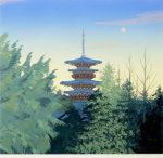 千住博「朝光(塔)」版画リトグラフ45.4×53cm