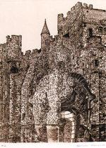 浜田知明「フランドル伯城」銅版画23.8×17.9cm