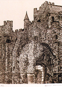 浜田知明「フランドル伯城」銅版画