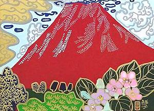 片岡球子「箱根うつぎの咲く頃」木版画