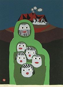 畦地梅太郎「家族」木版画