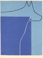 大沢昌助「けもの」版画シルクスクリーン44×34cm