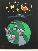 畦地梅太郎「ものの気配」木版画50×38cm