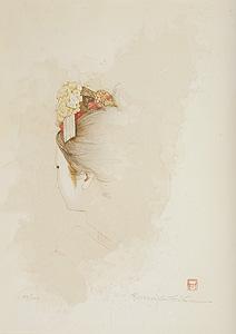 福井良之助「匂う白」木版画