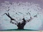 中島千波「精樹淡墨」木版画35×49cm