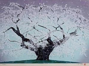 中島千波「精樹淡墨」木版画