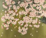 森田りえ子「枝垂れ桜」版画リトグラフ49×60.7cm