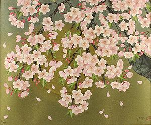 森田りえ子「枝垂れ桜」版画