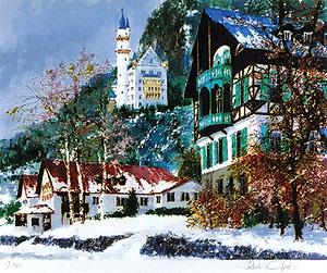 小田切訓「雪のノイシュバンシュタイン城」版画
