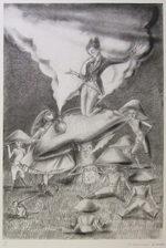 金子國義「いもむしの忠告」版画56.5×38.5cm