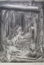 金子國義「歌うコック」版画リトグラフ57×39cm
