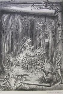 金子國義「歌うコック」版画
