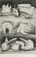 ヘンリー・ムーア「Three Sculpture Motives」銅版画29.5×19.7cm