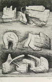 ヘンリー・ムーア「Three Sculpture Motives」銅版画