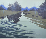 千住博「雨後の朝」版画リトグラフ60.7×72.6cm