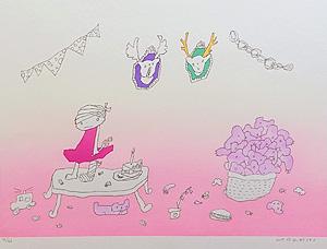 ロッカクアヤコ「untitled」木版画