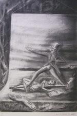 金子國義「スーツを着た白うさぎ」版画57×38cm