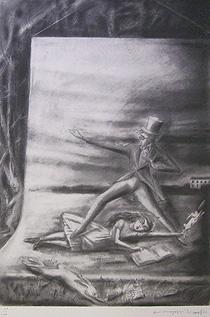 金子國義「スーツを着た白うさぎ」版画