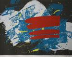 白髪一雄「赤い旗」版画シルクスクリーン65×85cm