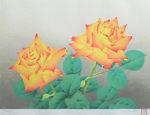 中島千波「薔薇(2)」版画リトグラフ33×45.5cm