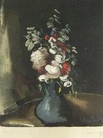 モーリス・ド・ヴラマンク「花瓶の花束」銅版画43×34.8cm