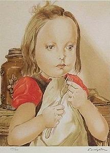 藤田嗣治「フォークを持つ少女」版画