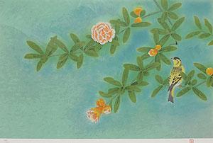 上村松篁「花石榴」版画