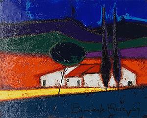 ロジェ・ボナフェ「糸杉と白い家」油彩