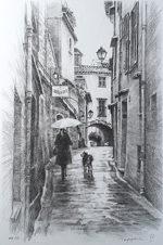 笹倉鉄平「小雨降っても」版画リトグラフ55.5×32cm
