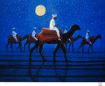 平山郁夫「月光砂漠らくだ行」復刻版画リトグラフ41×54cm