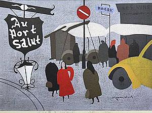 斎藤清「パリ・露店(1959年12月) 」木版画