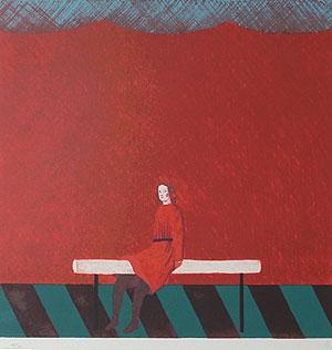 有元利夫「赤い部屋」版画