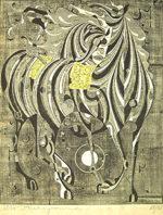 中山正「白いたてがみ」木版画72.7×57.5cm